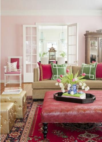 Andrea Brooks Interiors Pink Living Room