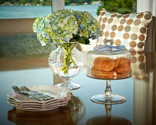 Traci Zeller Designs Breakfast Room with Indoor-Outdoor Fabrics