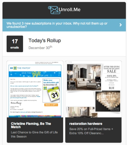 Unroll.me Daily Email Sample