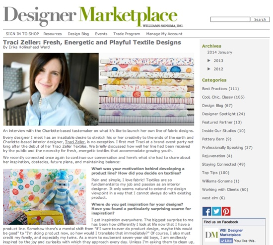 Williams Sonoma Designer Marketplace Profile