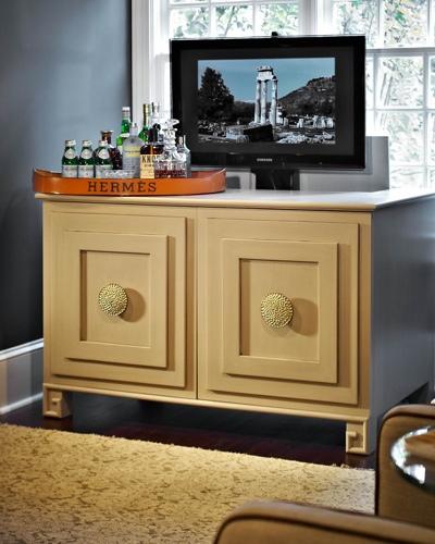 Traci Zeller Hidden Television Cabinet Wine Room