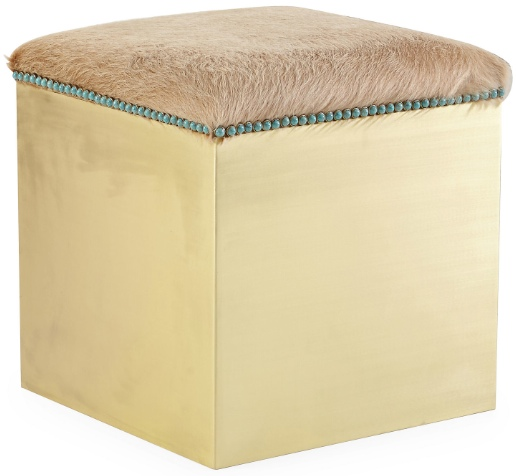 OKL Kate Brass Ottoman Hair on Hide Turquoise Nailhead Taylor Burke Home