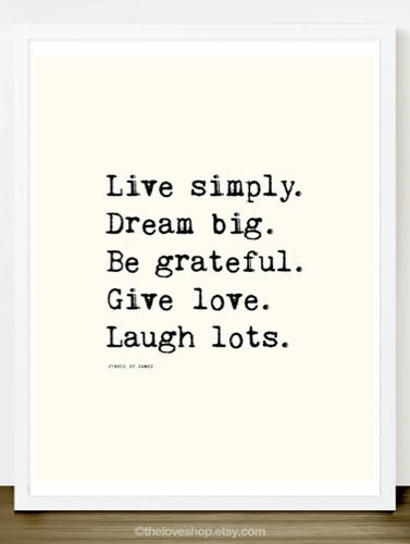 Live Simply Typewriter Quote Merci Merci Etsy