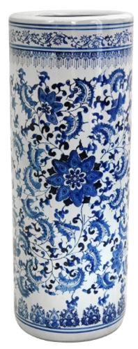 Oriental Furniture Blue and White Umbrella Stand
