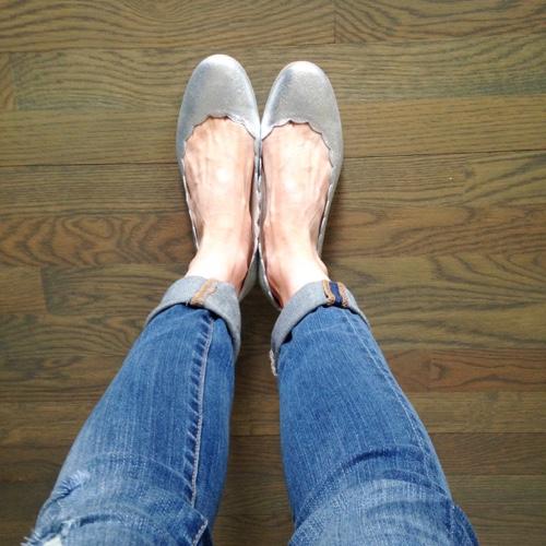 Boden Silver Ballet Flats