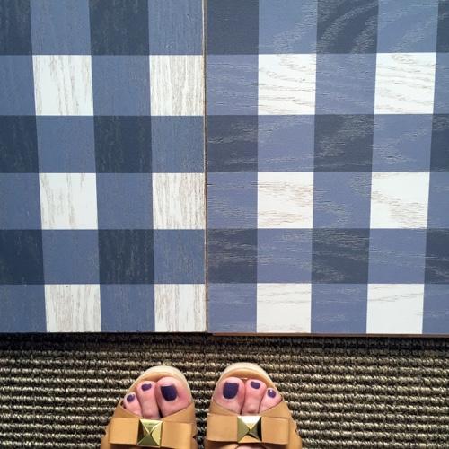 Mirth Studio Navy Gingham Floor Tiles