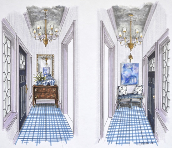 Traci Zeller Foyer Traditional Home Showhouse Rendering FINAL