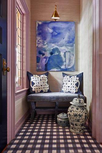 Traci Zeller Lavender Grasscloth Foyer Navy Bench