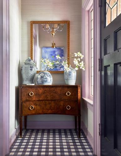 Traci Zeller Lavender Grasscloth Navy Gingham Floor Foyer