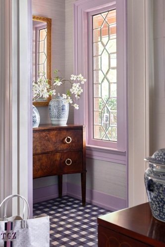 Traci Zeller Lavender Navy Gingham Foyer