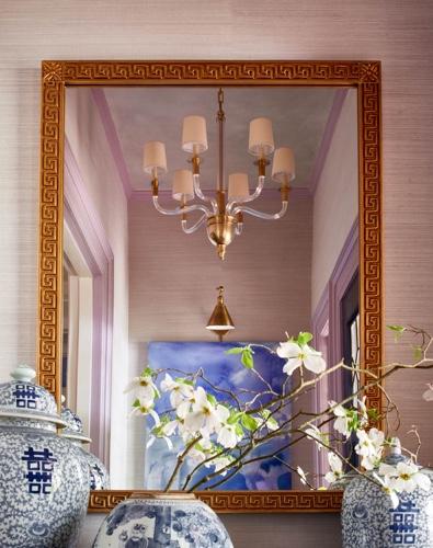 Traci Zeller Mirror Chinoiserie Vignette Lavender Grasscloth
