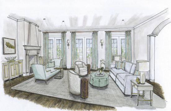 Traci Zeller Designs Living Room 2 Rendering