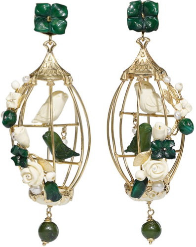 Of Rare Origin Lovebird Earrings Green White
