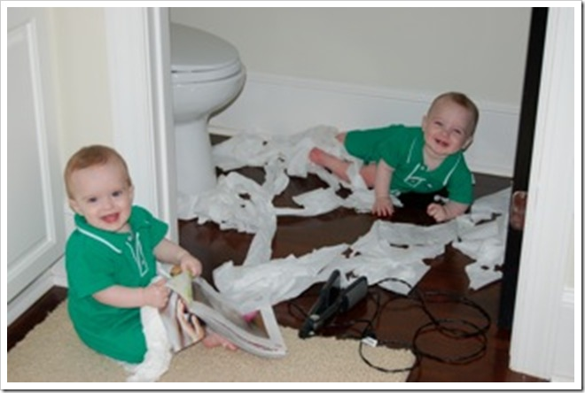 Twin Boys Love Toilet Paper