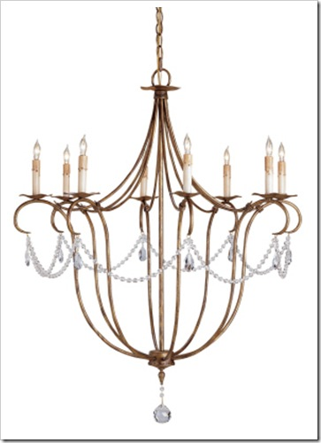 Currey & Company Large Crystal Lights Chandelier