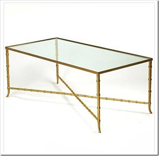 Nate Berkus Glass Top Bamboo Style Metal Table